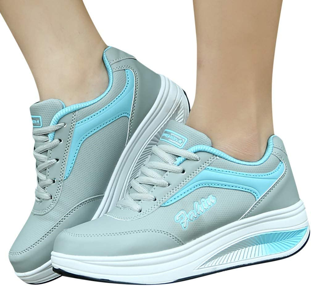 Wedge Sneakers for Women Comfy Fasion Air Running No-Slip Shoes Lace-up Large Size Shopping Walking Fitness Athletic