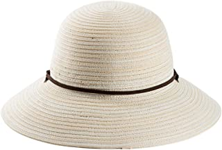 Fancet Packable Mens Trilby Straw Panama Fedora Derby Havana Hat Summer Sun Beach Hat for Women White 57-58cm