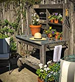 Potting Bench with Hardware Hooks & Towel Bar - Buffet Table Island Workbench Outdoor Patio Garden Furniture Wood Rolling Cart & Zinc Table-Top w/ Black Iron Castors & Brakes (5in Black Caster)