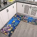 Juego de Alfombra de Cocina de 2 Piezas,tapetes de Cocina,Acuario Colorido,mostrando Diferentes Peces Nadando,Alfombrilla súper Absorbente para baño de Cocina