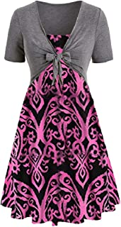 FSSE Women Print Summer Shrug Bolero Cardigan Dress 2 PCS Outfits Beach Mini Dress