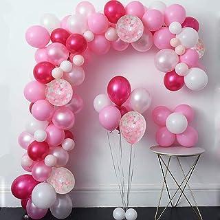 MMTX Set de Globos de Confeti Rosa de 51 Piezas, Incluyendo Globos de Látex Rosa, Blanco, Rojo y Rosa, Globos de Confeti y 1 Rollo de Cinta para Cumpleaños Fiesta de Bodas Decoraciones Baby Shower