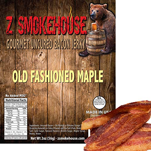 Old Fashioned Maple Bacon Jerky - Uncured. - No MSG. No Nitrates. - Classic Gourmet Recipe - Made in USA - 2oz