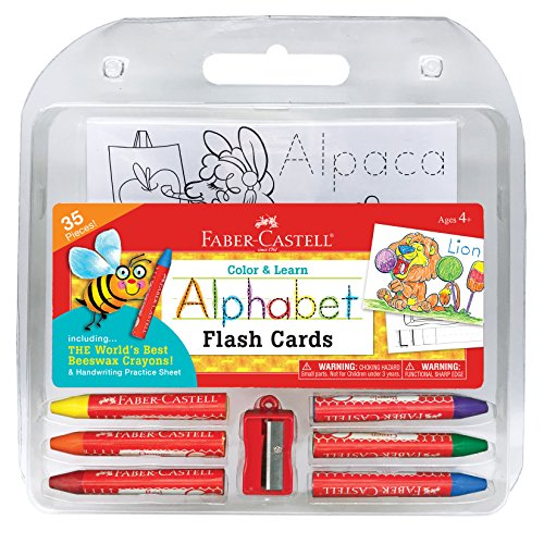 Faber-Castell Color and Learn Alphabet Flash Cards - ABC Flash Card and Coloring Set for Preschoolers