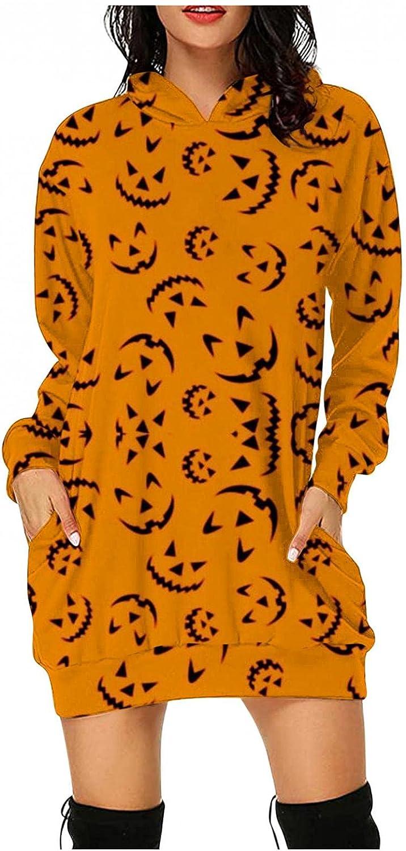 Hotkey Halloween Womens Dresses, Women's Long Sleeve Hooded Pockets Pullover Hoodie Dress Pumpkin Cat Print Tunic Sweatshirt