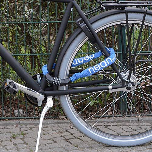 nean Fahrradschloss mit Zahlen und hoher Sicherheitsstufe, Fahrrad-Ketten-Schloss, Zahlen-Code-Kombination-Schloss, gehärtete Stahlkettenglieder, 6 mm x 900 mm, Blau - 9