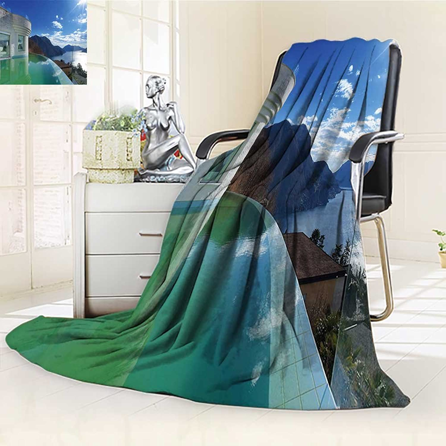 YOYI-HOME Digital Printing Duplex Printed Blanket Travel Modern Penthouse with Infinity Pool Summer Holiday Themed Image White and Light bluee Summer Quilt Comforter  W59 x H39.5