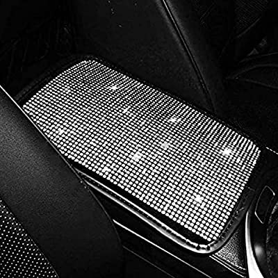 """eing Bling Car Armrest Cover Auto Center Console Cushion Pad Charming Crystal Rhinestone Car Interior Accessory for Women,13.97""""x8.66"""",Pure White"""