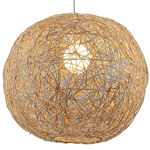 Chandeliers Ceiling Lights Nordic Creative Round Hemp Ball Hand-Woven Rattan Lampshade Pendant Lighting Hanging Lamp E26 Fixture for Bedroom Living Room Kitchen Dining Room Hallway (50cm)