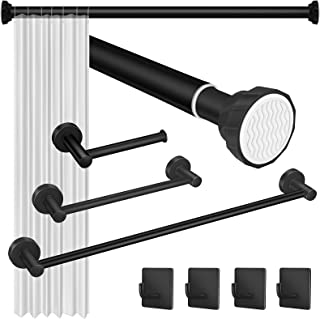 EAONE 40-72 Inch Shower Rod, 24Inch+12Inch 2 Size Towel bar, Toilet Paper Holder, 4 Hooks Spring Rod SUS304 Stainless Stee...