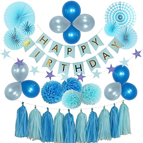 HypeDecor Baby Shower Decorations for Boy, Happy Birthday Banner, Paper Fans, Paper Balls, Tassels, Blue, Hanging, Party Supplies, Indoor/Outdoor