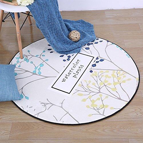 GJ Chambre moderne minimaliste fauteuil de chaise d'ordinateur chaises en rotin coussins, tapis circulaire européen, salon table basse table tapis (Couleur : Bleu, taille : 60 cm)