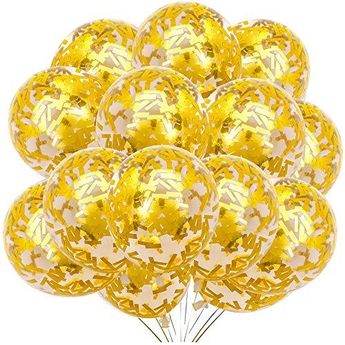 Globos de confeti dorado con globos de helio, paquete de 50 unidades de 12 pulgadas para niñas, cumpleaños, boda, compromiso, aniversario, despedida de soltera, decoración de fiesta