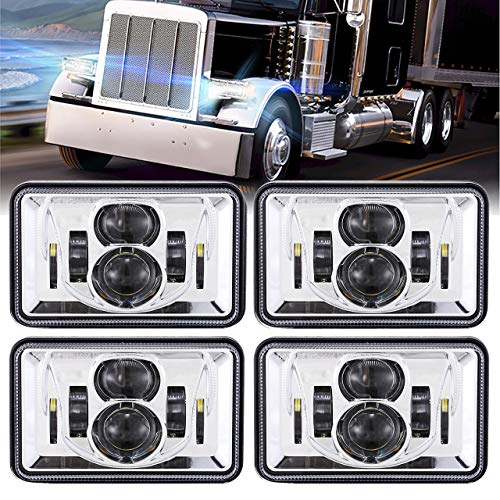 (4 PCS) DOT Approved 60W 4x6 Inch LED Headlights Rectangular Replacement H4651 H4652 H4656 H4666 H6545 Compatible with Peterbilt Kenworth Freightinger Ford Probe Oldsmobile Cutlass -Chrome