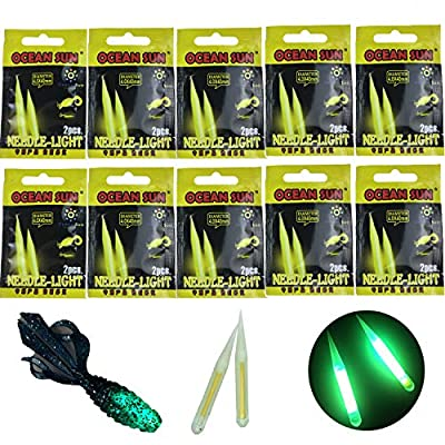 Fishing Glow Sticks for Soft Baits Worms Jig Tails Inserts, Sharp Pointed Needle Light Sticks for Soft Plastic Fishing Lures,Fishing Glow Sticks 100 Pcs 20 Pcs (Needle Light Stick 20 Pcs(10 packs))
