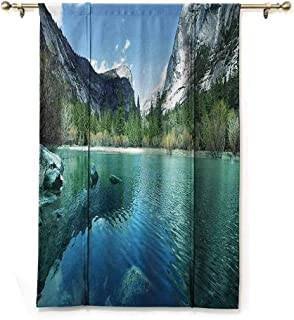 SONGDAYONE Polyester Roman Curtain Country Decor Collection Machine Washable Mirror Lake in Yosemite Scenic Picture with Mountains Lakeside Trees Waterscape,W48 x L72 Turquoise Blue
