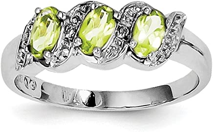 Sterling Silver Polished Rhodium Peridot and Diamond Ring - Ring Size Options Range: L to P