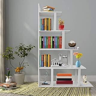 Seeutek Ladder Corner Bookshelf 5 Layer Bookcase Wood Display and Metal Book Shelf Vintage Industrial Rustic Bookshelf Open Storage Etagere Book Frame White