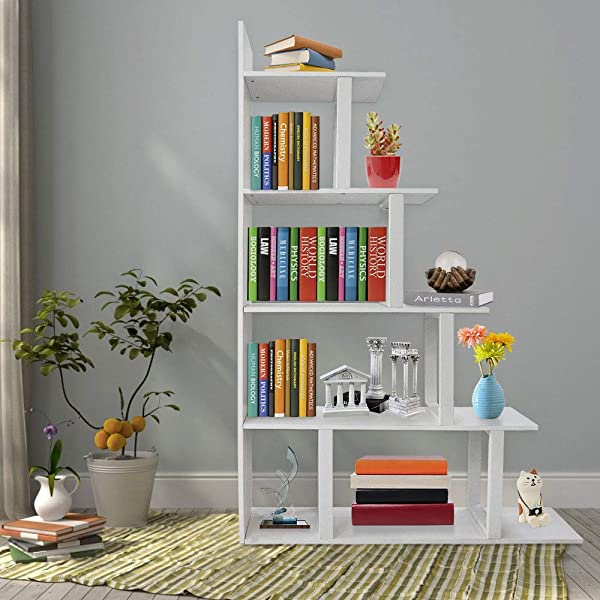 Seeutek Ladder Corner Bookshelf 5 Layer Bookcase Wood Display And Metal Book Shelf Vintage Industrial Rustic Bookshelf Open Storage Etagere Book Frame White