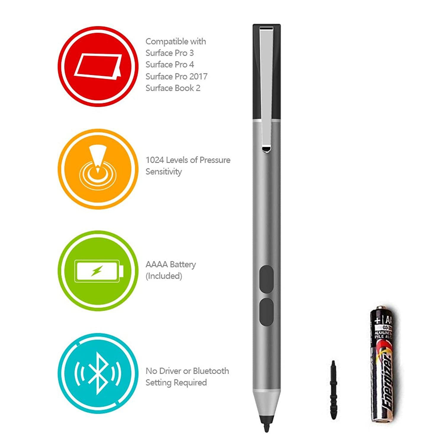 Surface Pen for Microsoft Surface Book Surface Pro 3 Pro 4 Pro 5 Pro 6 Surface Go Surface Laptop 2 with 1024 Level Pressure Sensitivity, AAAA Battery & 2 Surface Pen Tips, Support Palm Rejection
