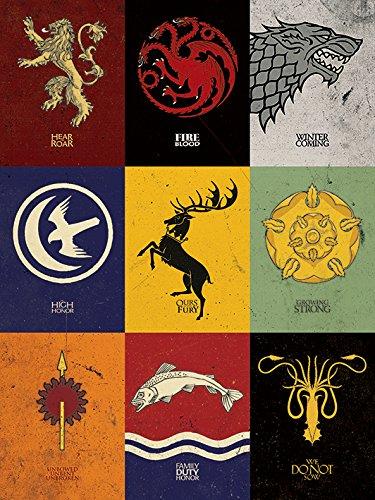 Game Of Thrones De Juego de Tronos sigilos Impresión de Lienzo 60 x 80 cm