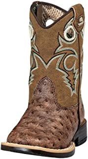Double Barrel Toddler-Boys' Brant Ostrich Print Boot Square Toe Brown 6.5
