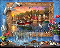 1000ピース ジグソーパズル木製プレプリントパターンフォトフレームの海辺の街ジグソーパズル 1000ピース 絵画 大人 子 向け 木製パズルDIY家の装飾、パズルゲーム、減圧教育ギフト75x50 cm(8歳以上に適しています)