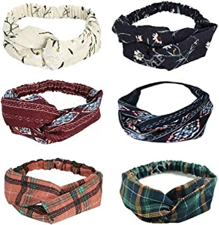 WITHMOONS 6 Pack Women Headband Floral Check Cross Head Wrap Hair Band DAY1175