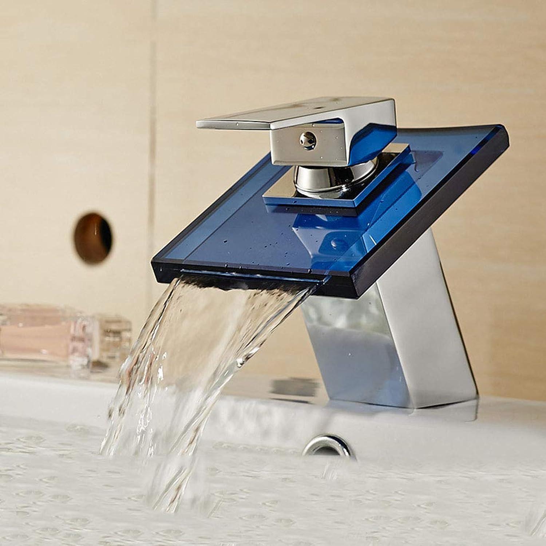 QLIGHA Bathroom Sink Taps Copper Glass Waterfall Mixer Basin Faucet,Chrome