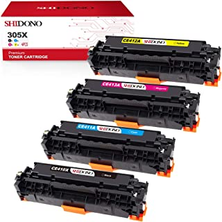 Shidono Compatible Toner Cartridge Replacement for HP 305X 305A CE410X Fits with HP Laserjet Pro 400 Color M451dw/M451dn/M451nw/M375nw/M475dn/M475dw Printer,[4-Pack, 1Black/1Cyan/1Yellow/1Magenta]