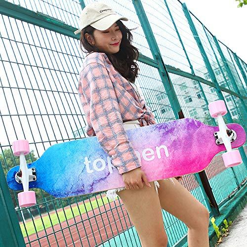 Skateboards Professionelles Speed Drop Down Komplettes Longboard Twin Tip 9-lagiges Ahorndeck Easy Ride Tool Camber Concave für Erwachsene Kinder Anfänger Mädchen Jungen