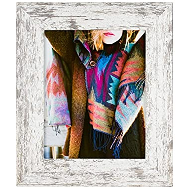 Craig Frames American Barn, Faux Barnwood Picture Frame, White, 5 x 7 Inch