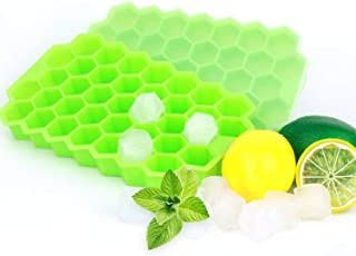 2 Pack Silicone Ice Cube Tray Set - Honeycomb Flexible Stackable Ice Trays / Molds with Removable Covers / Lids - BPA Free...