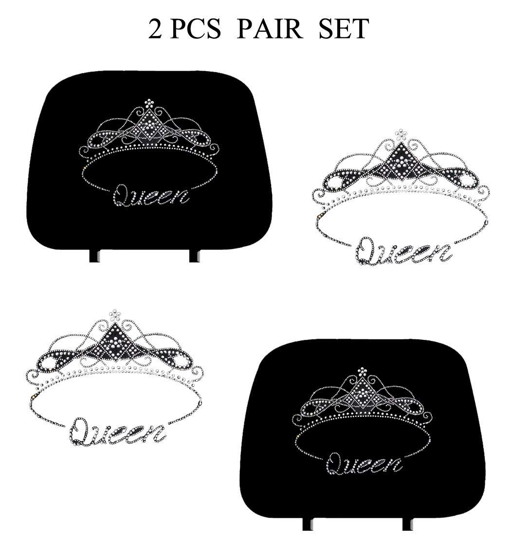 CarsCover Royal Queen Crown Crystal Diamond Bling Rhinestone Studded Carpet Car SUV Truck Floor Mats 4 PCS