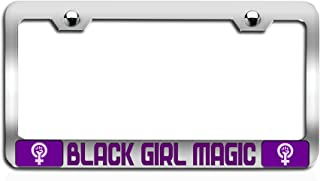 Makoroni - Black Girl Magic Feminism Girl Power Chrome Steel Auto SUV License Plate Frame, License Tag Holder