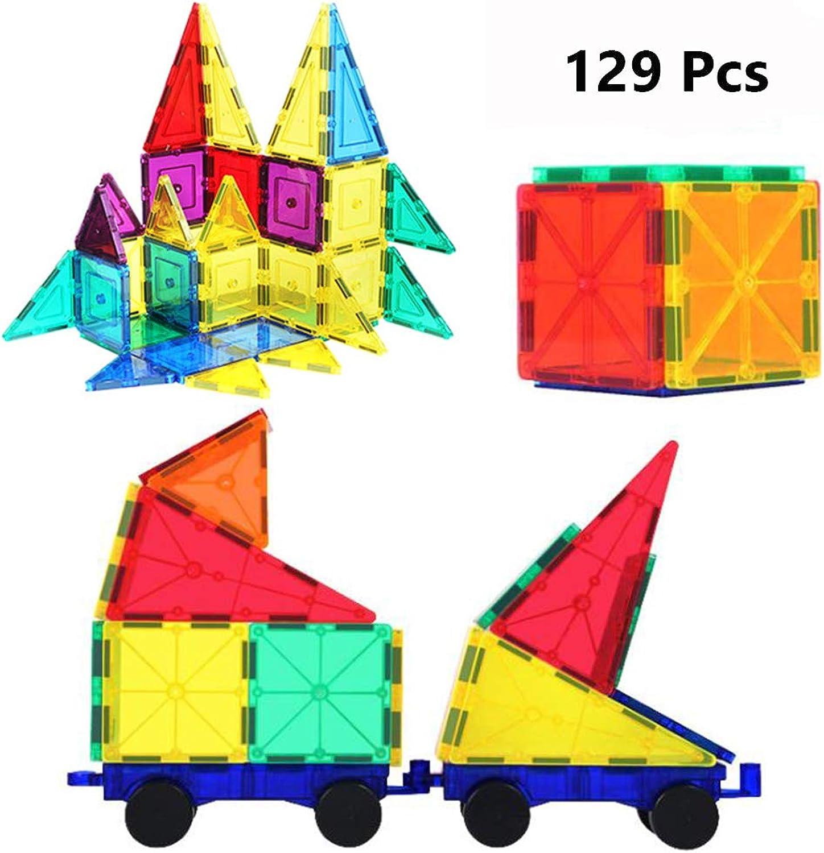 WXIAGoldNG Magnetic Building Blocks, Magnetic Building Tiles 129 Stücke der magnetischen Form Kinderbaustapel Kit, Kreative Bildung, Kinder über 3 Jahre alt