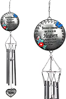 BANBERRY DESIGNS Memorial Windchimes Condolence - Because Someone We Love is in Heaven - Butterfly and Flower Design Garden Wind Chime with Heart Charm - in Loving Memory Chimes