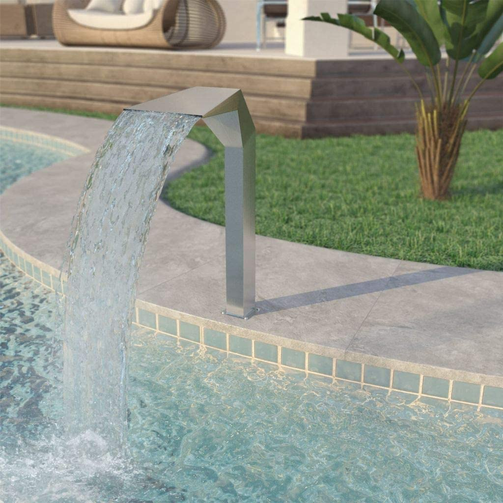 for Outdoor Waterfalls Sheer Descent Pond Water Pond Waterfall Fountain 304 Stainless Steel Unfade Memory Pool Fountain 11.8x23.6x27.6