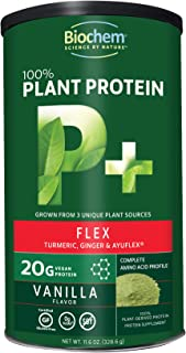 Biochem 100% Plant Protein - Flex - Vanilla Flavor - 11.6 Oz - 20g Vegan Protein - Keto-Friendly - Amino Acid - Turmeric, Ginger & Ayuflex - Joint & Bone Health - Highly Nutritious - Meal Substitute