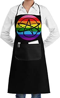 CZD76 Atheist Pride Flag Unisex Aprons for Women Men Restaurant Bar Apron Apron Pockets
