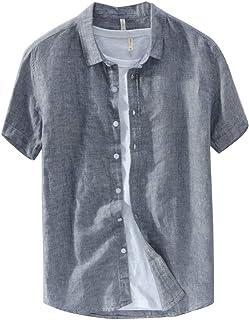 Runyue Mens Linen Shirt Short Sleeve Plain Lightweight Casual T-Shirts Tops