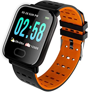 SYL PLUS Bluetooth A6 Smartwatch for Health and Fitness for Heart Rate Blood Pressure Monitor Pedometer IP67 Waterproof Compatible with All Android and iOS Smartphones - Orange