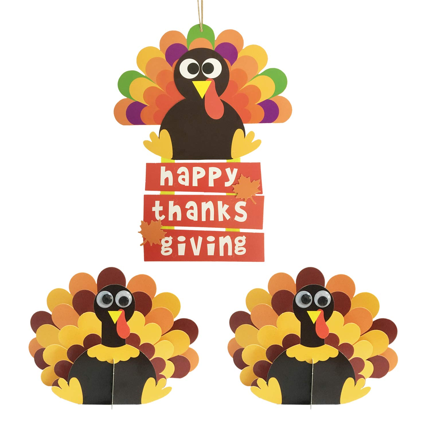 Turkey Crafts for Autumn Home Classroom Decorations Festive Fall Thanksgiving Party Turkey Craft Kit Thanksgiving Crafts for Kids DIY Happy Thanksgiving Sign /& 3D Turkey Decor Supplies