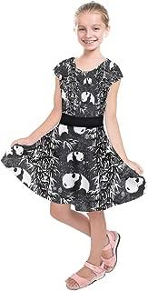 Girls Gradient Happy Birthday Panda Cartoon Tribal Kids Short Sleeve Dress, Size:2-16