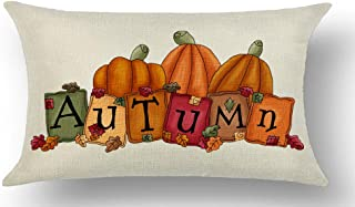 WePurchase Hand Painted Happy Autumn Fall Y'all Watercolor Brown Pumpkin Leaves Decoration Quote Cotton Linen Decorative Home Sofa Living Room Throw Pillow Case Cushion Cover Rectangle 12x20 Inches