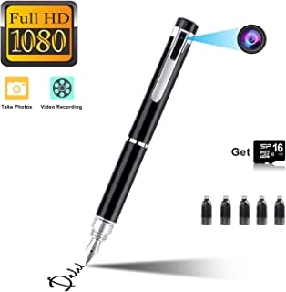 Hidden Spy Pen Camera HD 1080P Clip On Body Camera Portable Pocket Cam Covert Camera Built in 16GB Memory Card Camcorder for Business and Conference