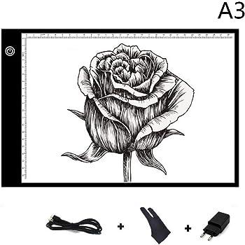 Mesa de Luz A3,LED Tableta de Luz,Super Delgado y Brillo Ajustable en 3 Niveles, USB+plug,Adecuado Para Dibujar, Manualidades,Caligrafía: Amazon.es: Hogar