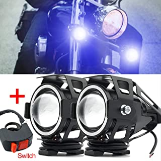 Motorcycle Headlight,U7 LED Spotlight Fog Lights DRL Auxiliary Driving Lights Blue Halo Ring Hi/Low Beam Strobe With Switch
