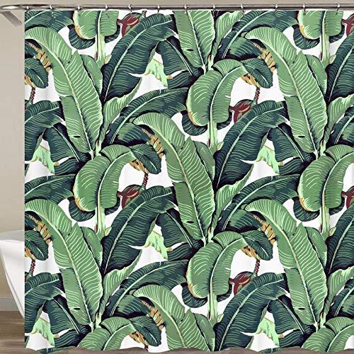 N / A Rideau de Douche Tropical 3D Vert Rideau de Douche Tissu de Douche Rideau de Douche Famille imperméable et résistant à la moisissure Rideau de Douche A2 90x180 cm