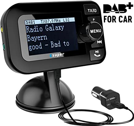 'Adaptor for Car Radio and Esuper DAB Radio Portable Car DAB + Digital Radio Receiver with Bluetooth FM Transmitter 3.5mm AUX/Dual USB In Car Charger/TF Card Play/Hands-free Calls/2.3LCD Screen